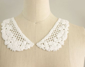 New Item! White Cotton Crochet Lace Peter Pan Collar / Two Piece Collar / Floral Cotton Lace / Peterpan Collar / Vintage Style