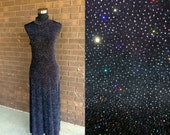 Vtg 90s Bodycon Maxi Dress / Club Kid Long Black Glitter Iridescent Sparkle 1990s Minimalist Health Goth / S M