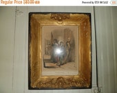 Valentine SALE Early 19th Century Frame and Etching  The Doomed Princes Queen Victoria