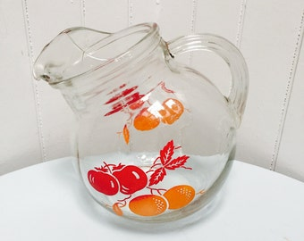 Vintage 1950s Hazel Atlas Orange & Tomatoes Tilted Ball Pitcher, Ice Lip