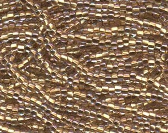 11/0 Seed Bead Brass Lined Clear AB-18 gram hank, #11 Clear Brass Lined AB Seed Beads, Brass Seed Bead, Seed Bead Weaving, Size 11 Seed Bead