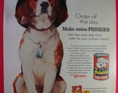 Vintage Original Print Ad 1960's Friskies Mix Beagle w/ Army Hat & Tags 929J-  Great for Framing