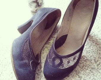 40s Pumps Heels // Blue Suede Shoes // Jacqueline by WOHL // Rockabilly PinUp WWII era