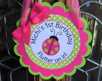 Ladybug Birthday Party Personalized Welcome Door Sign in Pink and Green - Ladybug Party Decorations - Ladybug Door Hanger