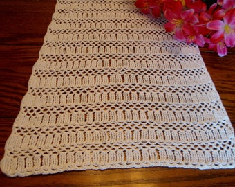 Crochet Table Runner Vintage Ivory Lace Dresser Scarf Table Linens
