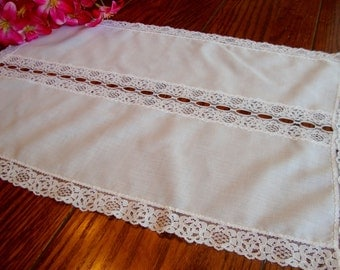 White Dresser Scarf Lace Trim Vintage Table Linens Small Table Runner Doily