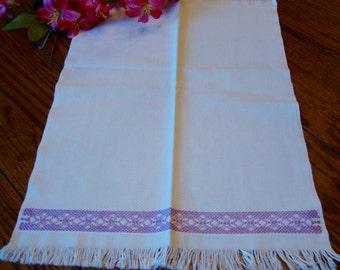 Linen Towel Purple Border with Fringe Vintage Kitchen Towel Tea Towel