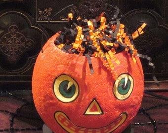 Antique Style Halloween Glittered Pumpkin