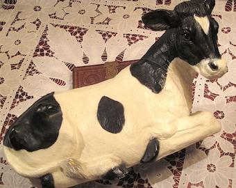 Vintage Holstein Cow Figurine Large Circa 1987