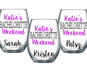3 Bachelorette Party Weekend Stemless Wine Glasses