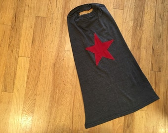 Kids Super Hero Cape - Gray with Red Star