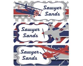 School Labels, School Name Labels, Waterproof School Labels, Personalized School Labels, Boy, Airplanes, Navy, Red, Gray, Grey, Vintage