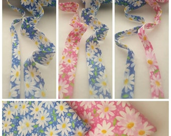 "Flower on Blue 1/2"" Double Fold Bias Tape / 1"" Single Fold Bias Binding Tape"
