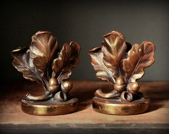 Oak leaves and acorn bookends, vintage bookends, bronzed bookends