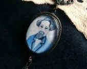 Charles Dickens Art Pendant, Illustrated Writers Portrait Necklace, Victorian Goth Jewelry