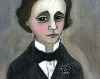 Lewis Carroll, Literary Portrait, Writers Illustration (11x14) Alice in Wonderland, Cheshire Cat Art, watercolor portrait