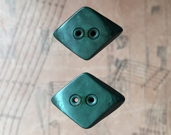 Art Deco Diamond Green Buttons. Set of 2