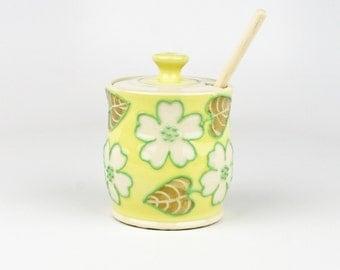 Yellow Flower Honey Pot