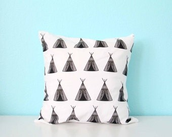 TeePee Tribal Printed Pillow Cover, Nursery Decor, Gender Neutral, Baby Girl or Baby Boy, Tipi, Native, Playroom, May Customize