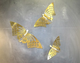 Set of Three Vintage Brass Butterflies-Wall Hangings-Wall Mount-Nursery Decor