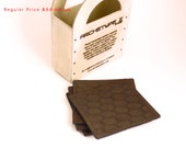 Leather Coasters - Honeycomb Patterned Coasters in Rustic Brown Leather, Set of 4