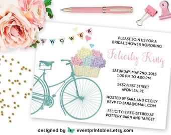 Printable Bridal Shower Invitation, Vintage Bicycle Basket Hydrangea Flowers, DIY Spring Wedding Shower Invite by Event Printables