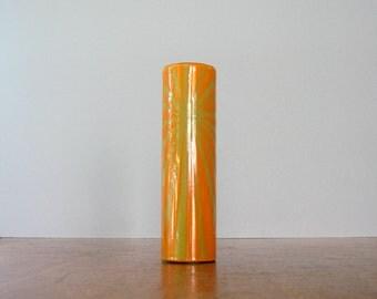 Mid Century Hanova Nova Enamel Vase - Orange / Gold Chaney