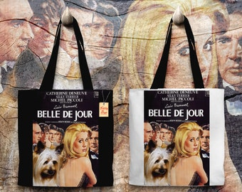 Silky Terrier Art Tote Bag Belle De Jour Movie Poster   Perfect DOG LOVER Gift for Her Gift for Him