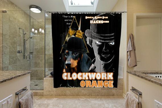 Dachshund Art Shower Curtain, Dog Shower Curtains, Bathroom Decor - A Clockwork Orange Movie Poster by Nobility Dogs