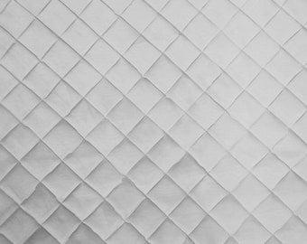"White Pintuck taffeta iridescent 2""x2"" diamond 54"" wide per yard tablecloth  colors"