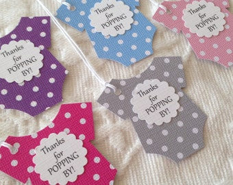 Thanks For Popping By Baby Tags -  Baby Bodysuit Tags - Polka Dot Baby Thank You Tags - Baby Shower Favor Labels