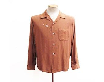 Vintage Men's 1950s Shirt | Atomic Print Brown 1950s Gabardine Shirt | size medium - large