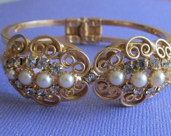 Stunning Goldtone Hinge Clamper Bracelet ~Gold Filigree ~ Rhinestones ~Faux Pearls