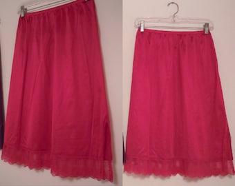 Strawberry Red Vintage Half Slip / Purple Half Slip / Dark Pink Half Slip / Slip w Side Slit & Lace / Size S-M