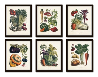 French Vegetable Print Set No. 5, Giclee, Art Prints, Collage, Botanical Art, Print Sets, Vegetable Prints, Illustration, Kitchen Art