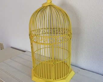 Bright Yellow Metal Bird Cage - French Country Cottage - Porch Patio Garden  Plant Holder - Distressed - Wedding - Centerpiece - Bird Decor