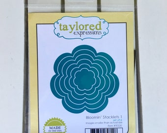 Taylored Expressions Blooming' Stacklets 1 die, for card making, scrapbooking, stamping, art journaling, planning, mini albums, mix media