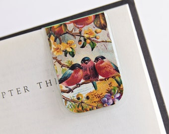 Bird Magnetic Bookmark Laminated Birds Flowers Trees  Teacher Gift Christmas Stocking Stuffer Student College