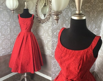Vintage 1950's Jonathan Logan Red Grosgrain Dress with Leaf and Paisley Print XS