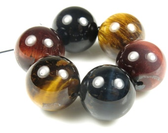 Red / Blue / Golden Tiger Eye Large Round Bead - 14mm - 6 beads - B5804
