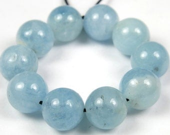 Quality Natural Aquamarine Round Bead - 8.5mm - 10 Pieces - B3959