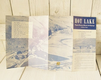 Vintage Oregon travel brochure Hot Lake Hotel souvenir haunted vacation 1940s