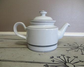 Vintage Porsgrund Teapot Coffee Pot Serving Pot Porsgrund Norway White with Black Stripe Scandinavian Teapot Tea Service Housewarming Gift
