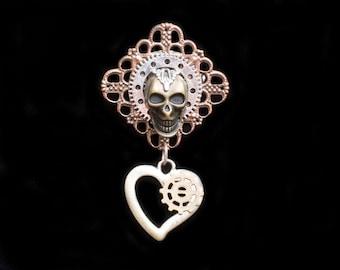 Steampunk Skull Brooch- Skull Jewelry- Steampunk Jewelry- Steam Punk Skulls- Gear Brooch- Goth Skull Brooch- Goth Jewelry- Goth Accessories