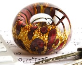 Small Hand Blown Glass Paperweight - Earthy Gold Brown and Rust Red with Bubble