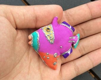 Vintage Colorful Fish Brooch