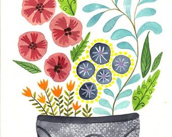 Original fine art illustration watercolor. Original artwork flowers design Floral botanical paint colorful collectibles Wall decor lifestyle