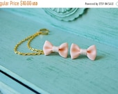 VALENTINES DAY SALE Mini Peach Bow Ear Cuff (Pair)