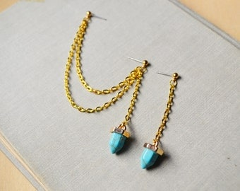 Turquoise Howlite Pendulum Gold Cartilage Earrings (Pair)