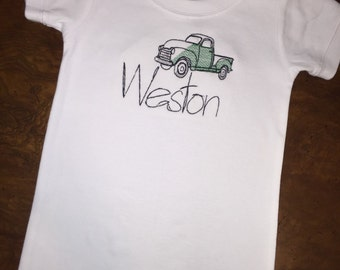 Personalized Antique Truck, Old Truck, Pick up Truck, Old Chevy Truck Onesie, Gown, Baby Lap Tee or Toddler Tee